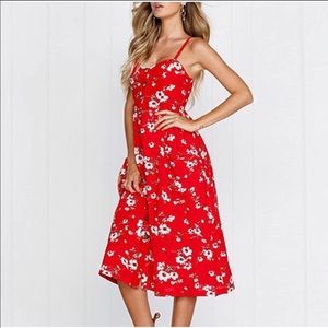 Dresses & Skirts - Red & White Floral Midi summer Button Down dress